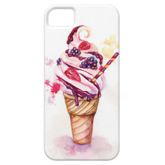 Ice cream with strawberry and blackberry iPhone SE/5/5s case