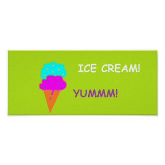 'Ice Cream Yummy' Poster Sign. Customizable.