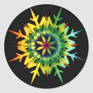 Ice Crystal Color Classic Round Sticker