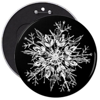 Ice crystal snowflake button