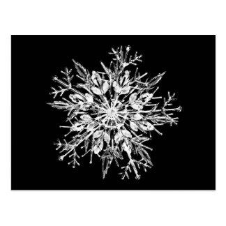 Ice crystal snowflake postcard