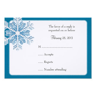 Ice Crystal Snowflake Winter Wedding Reply Cards Invitations