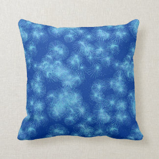 Ice crystal starbursts, blue background throw pillow