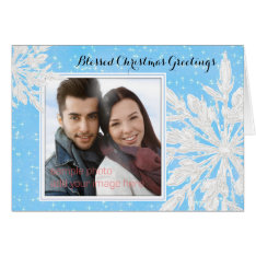 Ice Crystals Blue Photo Christian Christmas Card at Zazzle