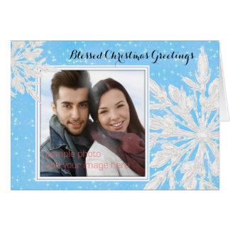 Ice Crystals Blue Photo Christian Christmas Card