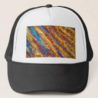 Ice crystals of frozen apple juice trucker hat