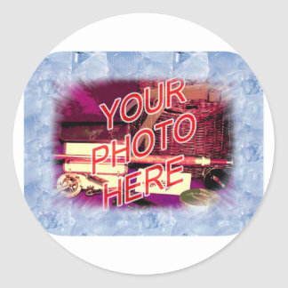 Ice Crystals template frame Classic Round Sticker