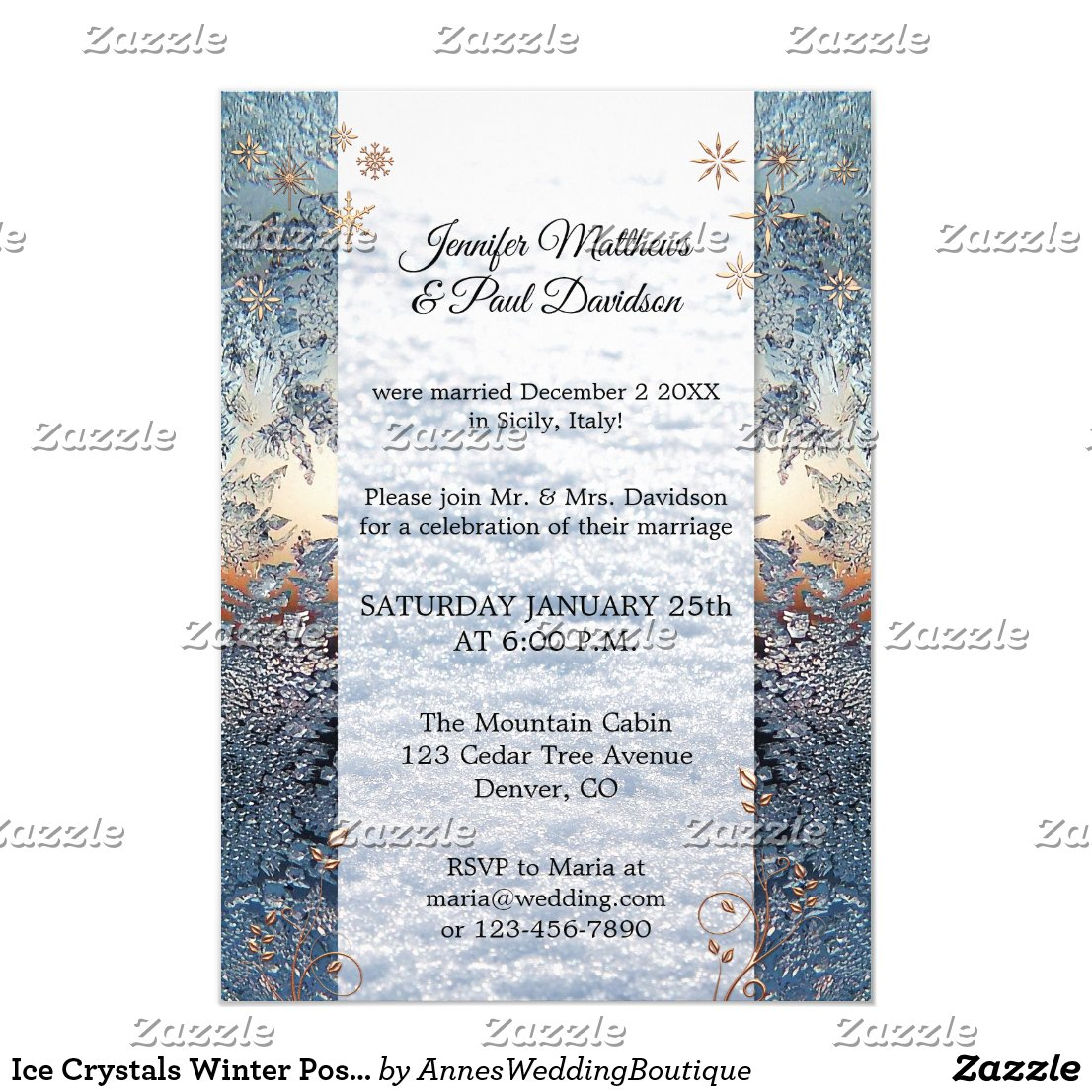 Ice Crystals Winter Post Wedding Party Invitation