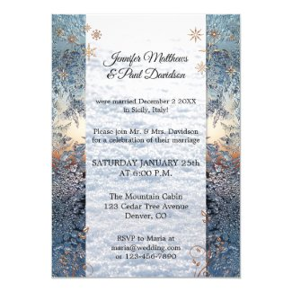 Ice Crystals Winter Post Wedding Party Invitation