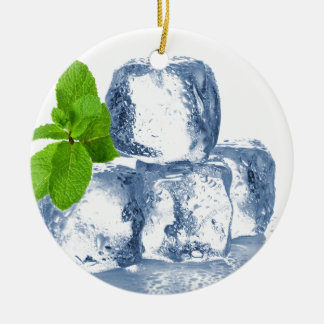 Ice cube cool yourself ceramic ornament