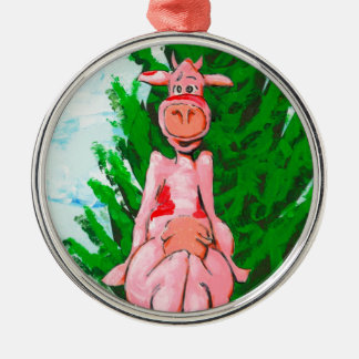 Ice Cube Cow Metal Ornament