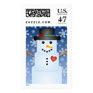 Ice Cube Snowman Custom Holiday Postage Stamps