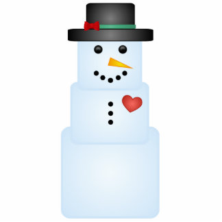 Ice Cube Snowman With Heart Tree Ornament