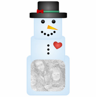 Ice Cube Snowman With Heart Tree Ornament Frame