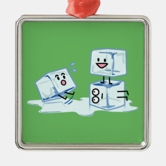 ice cubes icy cube water slipping stack melt cold metal ornament