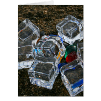 Ice Cubes & Light Bulbs on Beach Photograph Greeting Cards