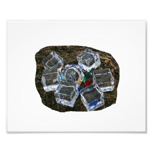 Ice Cubes & Light Bulbs on Beach Photograph
