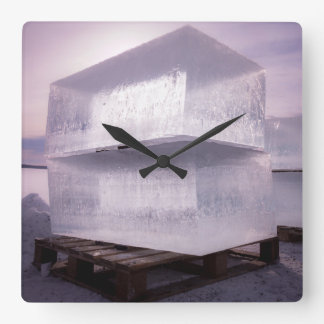 Ice cubes square wall clock