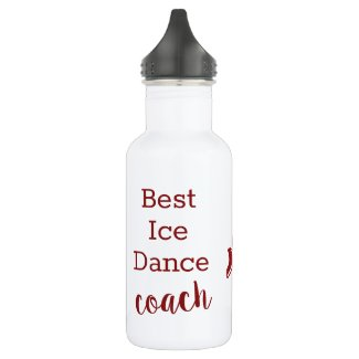 Ice Dance coach water bottle - red sparkle pair