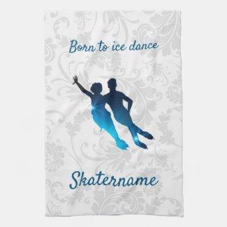 Ice dance skate towel - Blue star pair