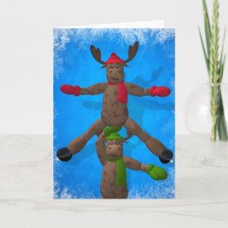 Ice Dancing Whimsical Reindeer Couple card