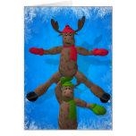 Ice Dancing Whimsical Reindeer Couple Greeting Card