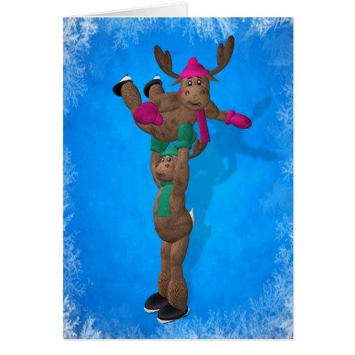 Ice Dancing Whimsical Reindeer Greeting Card