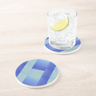 Ice Dazzling Blue Ombre Fade Glitter Sand Look Drink Coaster