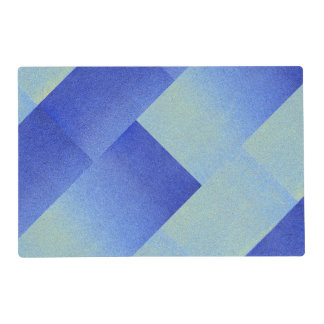 Ice Dazzling Blue Ombre Fade Glitter Sand Look Laminated Placemat