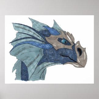 Ice dragon head poster