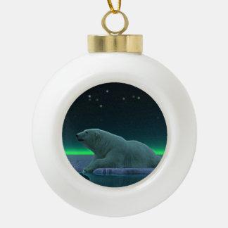 Ice Edge Polar Bear Ceramic Ball Christmas Ornament