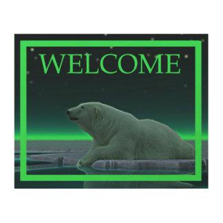 Ice Edge Polar Bear - Welcome Wood Print
