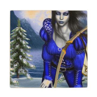 Ice Elves Maple Wood Coaster