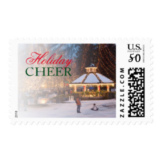 Ice Festival with gazebo and city park Postage