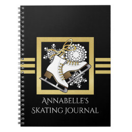 Ice | Figure Skating Black Faux Gold Girls Name Notebook