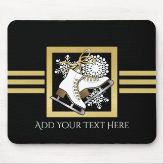 Ice   Figure Skating Black Faux Gold Modern Chic Mouse Pad