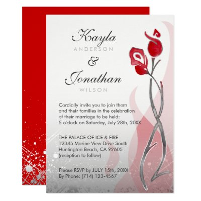 Fire and Ice Wedding Invitation – Red and Silver Wedding Invitations