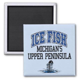 Ice Fish Michigan's Upper Peninsula 2 Inch Square Magnet