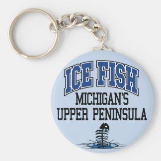 Ice Fish Michigan's Upper Peninsula Basic Round Button Keychain