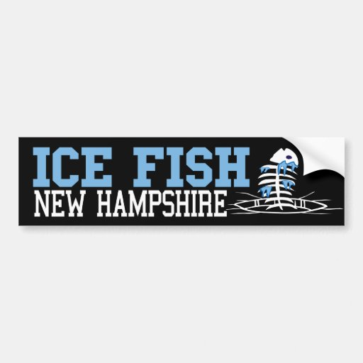 Ice fish new hampshire bumper sticker zazzle for Ice fishing nh