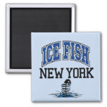 Ice Fish New York 2 Inch Square Magnet