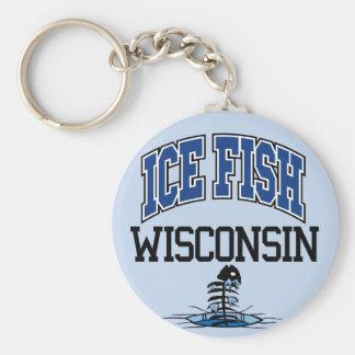 Ice Fish Wisconsin Basic Round Button Keychain