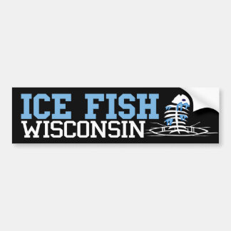 Ice fishing bumper stickers car stickers zazzle for Fishing car stickers