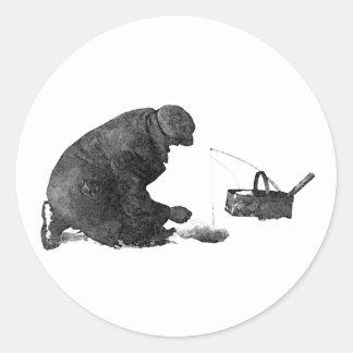 Ice Fisherman Classic Round Sticker