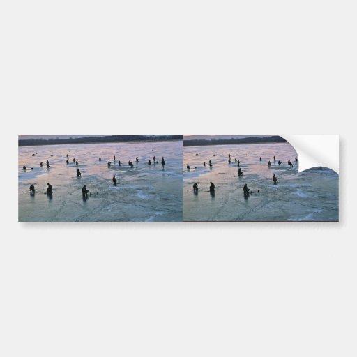 Ice Fishermen, Stoddard, WI Car Bumper Sticker