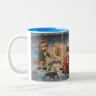 Ice Fishing at Night Two-Tone Coffee Mug