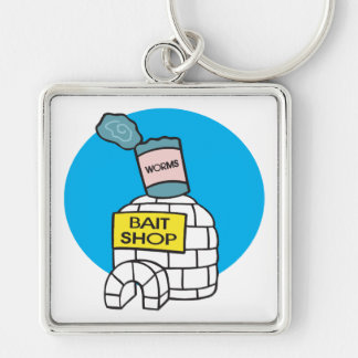 Ice Fishing Bait Shop Silver-Colored Square Keychain