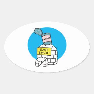 Ice Fishing Bait Shop Oval Sticker