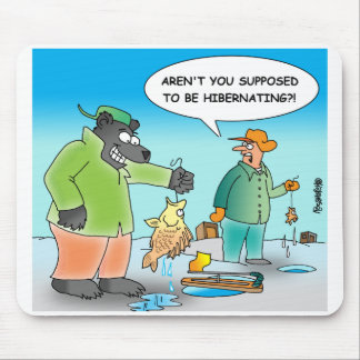 ICE FISHING CARTOON BEAR MOUSEPAD