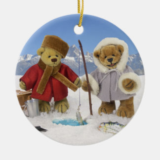 Ice Fishing Dinky Bears Ceramic Ornament
